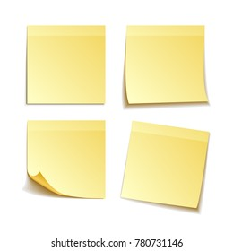 paper set of isolated yellow sticky notes, vector illustration