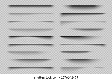 Paper shadow effect. Realistic transparent overlay shadows, poster flyer business card banner shadow. Vector design elements divider lines
