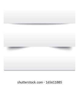 Paper shadows. Collection of white note papers. Paper separators, dividers. Page delimiters. Vector illustration.