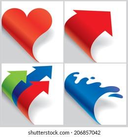 Paper shaped curled corners set