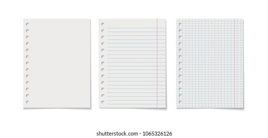 Paper sheet collection isolated on white background, vector realistic illustration