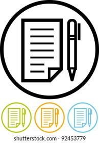 Paper sheet document and pen - Vector icon