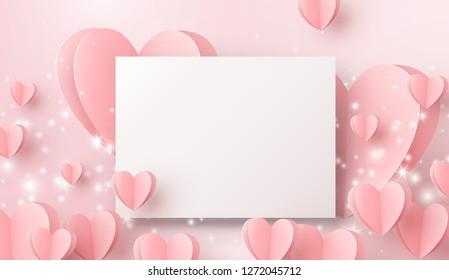 Paper sheet and hearts flying on pink background. Vector symbols of love, glowing lights for Happy Mother's, Valentine's Day, birthday greeting card design.