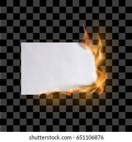 Paper sheet on fire. Flaming paper sheet. Burning paper. Vector illustration