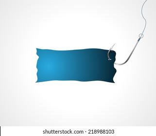 Paper sheet on fishing hook. Vector illustration.