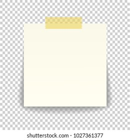 Paper sheet on translucent sticky tape with transparent shadow isolated on a transparent background. Empty note template for your design. Vector illustration.