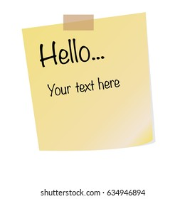 Paper sheet on translucent sticky tape with shadow isolated on a transparent background. Text Hello on yellow note template for your design.
