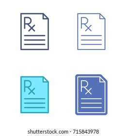 Paper sheet with prescription symbol. Rx document vector outline icon set. Pharmacy and medicine concept line symbols and pictograms. Thin contour infographic for web design, presentations, networks.