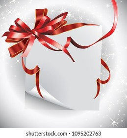 Paper sheet with a red ribbon and bow. It can be used for greeting cards, letters, etc.