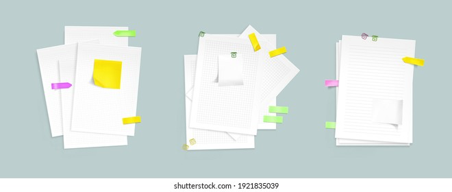 Paper sheet stacks with sticky notes and clips. Vector realistic mockup of notebook pages with pattern of lines, dots and square grid, color memo stickers and paperclips isolated on gray background