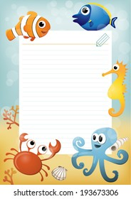 Paper sheet template with cartoon sea animals in background.