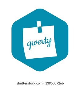 Paper sheet with text qwerty icon. Simple illustration of paper sheet with text qwerty vector icon for web