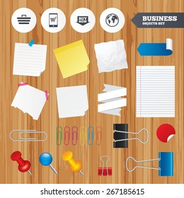 Paper sheets. Office business stickers, pin, clip. Online shopping icons. Smartphone, shopping cart, buy now arrow and internet signs. WWW globe symbol. Squared, lined pages. Vector