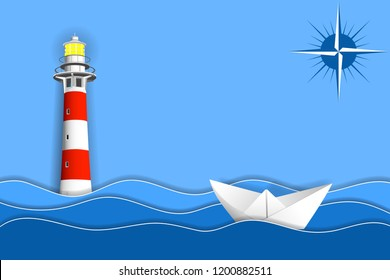 Paper ship in ocean waves, lighthouse and sign of a compass. Paper layers and shapes as sea landscape. Vector EPS10