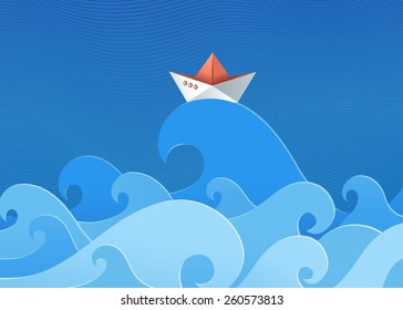 Paper ship on waves.