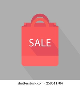 Paper shopping bag. Shopping bag icon. Flat design. Vector illustration