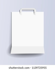 Paper shopping bag template. White empty paper shopping bag on a light lilac background. Paper shopping bag mockup. White paper bag for your design. Front side. Isolated. Vector illustration Eps10