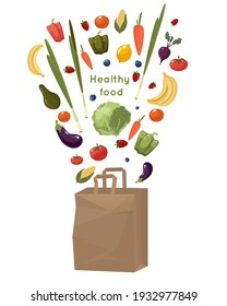 Paper shopping bag with vegetables and fruits isolated on white background. Vector cartoon illustration of a recyclable paper bag, with fresh food, fruits and vegetables shopping at local markets