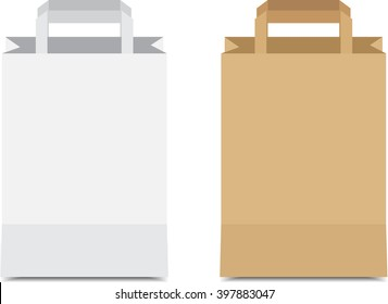 Paper Shopping Bags White and brown isolated on white background,vector