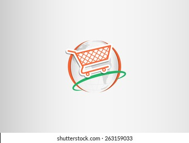 Paper shopping cart flying around the paper planet Earth