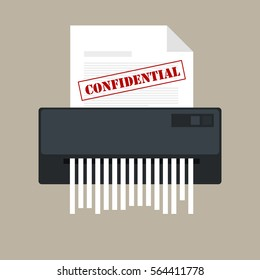 paper shredder confidential icon and private document office information protection