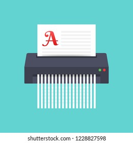 Paper shredder icon document business office information protection. Vector stock illustration.