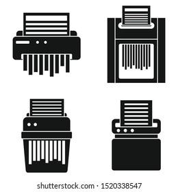 Paper shredder icons set. Simple set of paper shredder vector icons for web design on white background