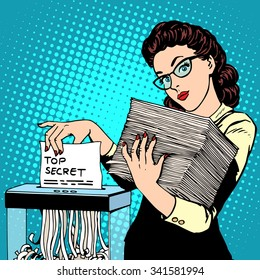 Paper shredder top secret document destroys the Secretary pop art retro style. The policy of the government security services document storage security data. Businesswoman politician