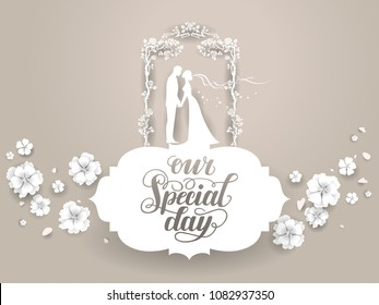 Paper silhouettes of bride and groom. Wedding ceremony card. Paper cut and craft style. Loving couple on holiday background. Vector consept illustration.