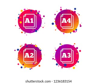 Paper size standard icons. Document symbols. A1, A2, A3 and A4 page signs. Gradient circle buttons with icons. Random dots design. Vector