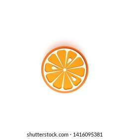 The paper is sliced with cut mandarin citrus, an excellent design for any purpose. Summer juicy orange in paper cut sytle. Vector card 3d illustration. Tropical papercraft layers fruit