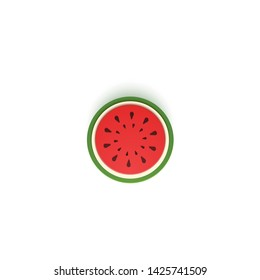 The paper is sliced with cut watermelon, an excellent design for any purpose. Summer, sweet melon juicy food in paper cut style. Vector card 3d illustration. Tropical papercraft layers fruit