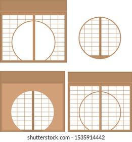 paper sliding door round window round window illustration material vector