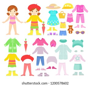 Paper smilling doll with seasonal clothes and accessories. Vector set isolated on a white
