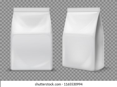 Paper snack bag. Food blank white sachet, packaging. 3d vector foil package isolated mockup. Snack bag, sachet product, paper pack container illustration