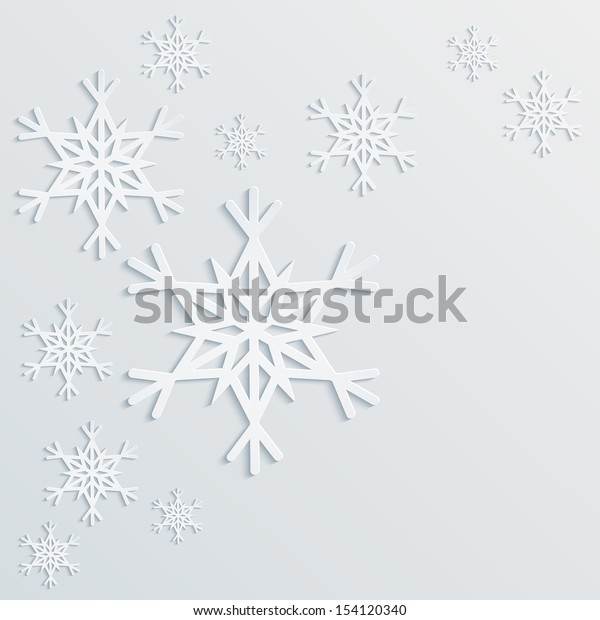 Paper snowflakes winter background for your own design