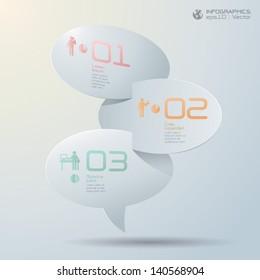 Paper speech bubble 3D digital illustration Infographics Vector.