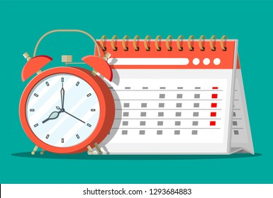 Paper spiral wall calendar and clocks. Calendar and alarm clocks. Schedule, appointment, organizer, timesheet, time management, important date. Vector illustration in flat style