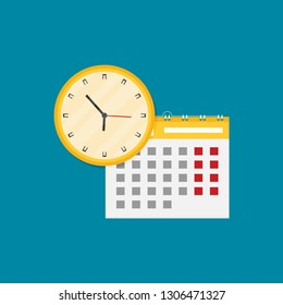 Paper spiral wall calendar and clocks. Vector illustration in flat style