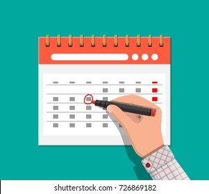 Paper spiral wall calendar and hand with pen. Save the date. Calendar flat icon. Schedule, appointment, organizer, timesheet, important date. Vector illustration in flat style