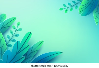 Paper spring leaves vector background. Paper cut style isolated on light backdrop. Fantasy leaf art illustration, corner composition. Springtime concept pattern. Easter floral decoration elements.