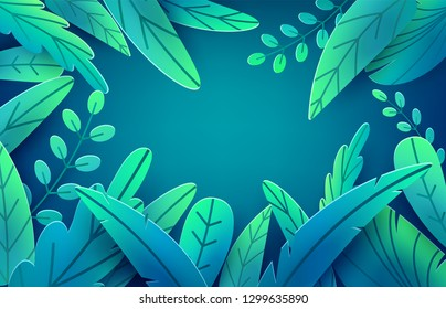 Paper spring leaves vector banner. Paper cut style isolated on dark background. Fantasy floral leaf art illustration. Springtime concept template. Easter decoration elements.