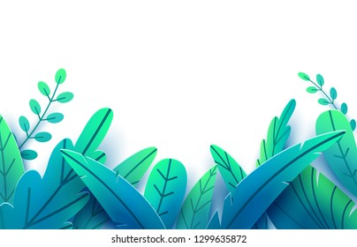 Paper spring leaves vector border background. Paper cut style isolated on white. Fantasy floral leaf art illustration. Springtime concept template. Easter decoration elements.