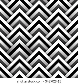 Paper squares with shadow in black and white seamless pattern, vector