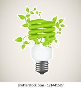 Paper sticker of floral power saving lamp. Vector illustration.