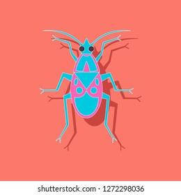 paper sticker on background of soldier bug