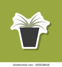 paper sticker on stylish background flower in pot aloe