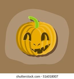 paper sticker on stylish background Halloween pumpkin emotions
