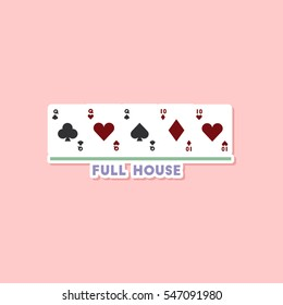 paper sticker on stylish background poker full house