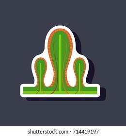 paper sticker on stylish background intestinal villi